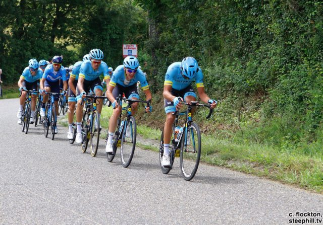 with about 50k to go Astana hit the front hard