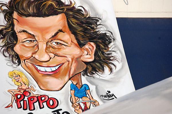 вчерашний победитель этапа Ф.Поццато на карикатуре перед стартом сегодняшнего