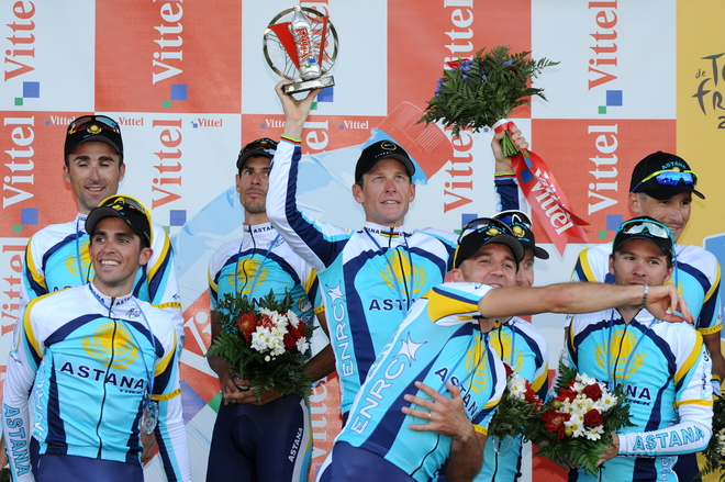 CYCLING-FRA-TDF-2009-TIME-TRIAL-MONTPELLIER-ASTANA-PODIUM