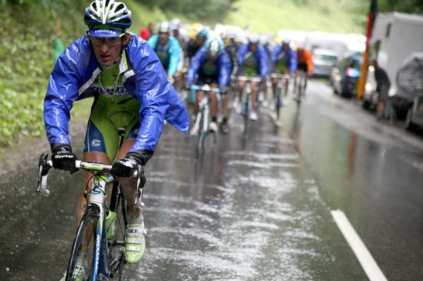 Pellizotti (Liquigas) on his way to taking the mountains jersey.