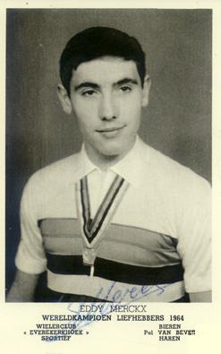 Eddy après son titre de champion du monde amateurs acquis à Sallanches en 1964