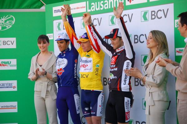 пьедестал Тура Романдии – победитель Эванс, Альберто Контадор - второй и Алехандро Вальверде – третий