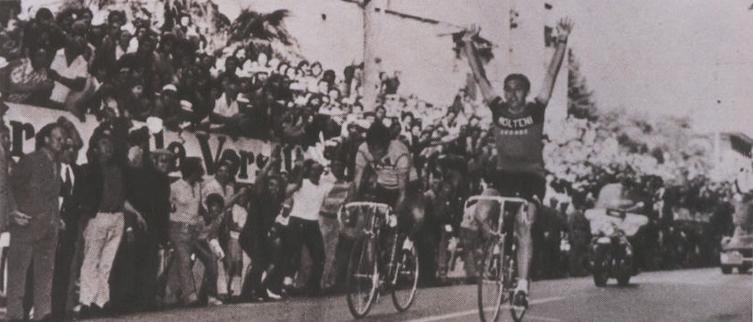 Эдди Меркс и Феличе Джимонди на финише Гран-при Камайоре, 1971
