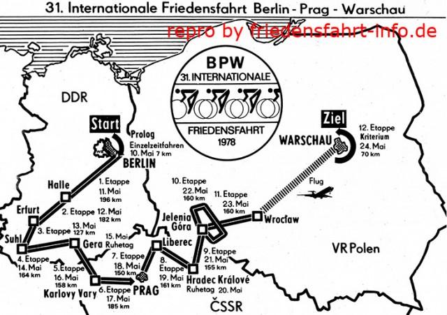 Маршрут победной для Александра Аверина Велогонки Мира 1978 года Берлин - Прага - Варшава