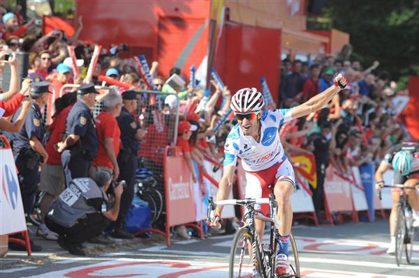 """Этап выиграл гонщик команды """"Катюша"""" Дани Морено. Поздравляем! А Винченцо снова в майке лидера! Photo credit © Fotoreporter Sirotti"""