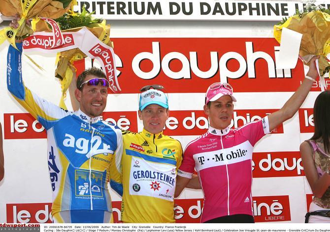 Кристоф Моро, Леви Лефаймер, Бернард Коль на подиуме в 2006. Photo: © Tim de Waele/TDW Sport