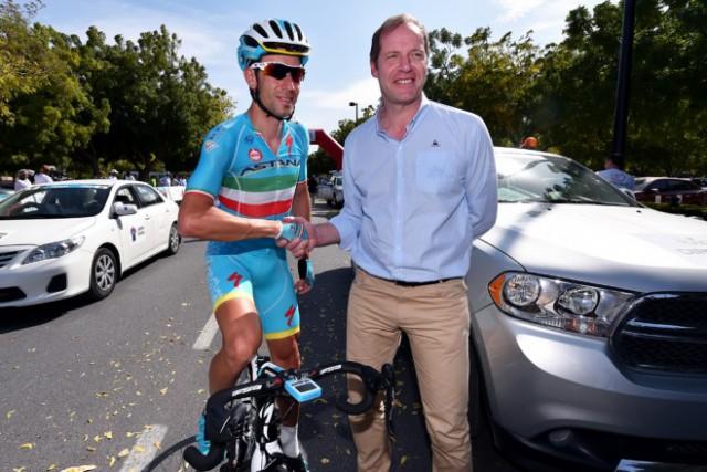 Винченцо Нибали и директор Тур де Франс Кристиан Прюдомм. Photo: Tim De Waele | TDWsport.com