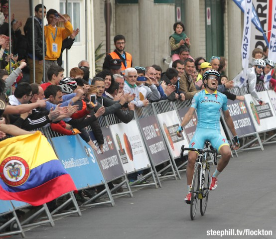 Mikel Landa a Basque riding for Astana wins very tough stage 5 of vuelta pais vasco