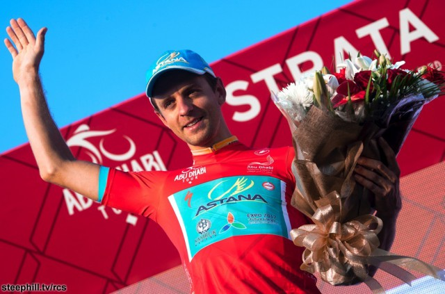 "Estonia's Tanel Kangert of Astana Pro Team wearing Red Jersey on the podium of the 150 km ""Strata"" Third stage of Abu Dhabi cycling race from AlAlain to Jebel Hafeet, UAE, 22 October 2016. ANSA/CLAUDIO PERI"