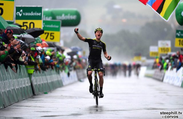 Gstaad - Swiss - wielrennen - cycling - cyclisme - radsport - JUUL JENSEN Christopher  (DEN)  of Mitchelton - Scott  pictured during the 82nd Tour de Suisse (2.UWT) stage  from  Gansingen to Gstaad 189KM - photo VK/PN/Cor Vos © 2018