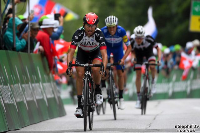 Leukerbad - Swiss - wielrennen - cycling - cyclisme - radsport -  ULISSI Diego (ITA)  of UAE Team Emirates pictured during the 82nd Tour de Suisse (2.UWT) stage 5 from  Gstaad to Leukerbad 155KM - photo VK/PN/Cor Vos © 2018